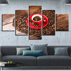 Red Cup Coffee - 5 Piece Canvas Wall Art