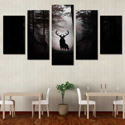 Deer In The Dark Forest - 5 Piece Canvas Wall Art