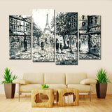 Paris Sketch - 4 Piece Canvas Wall Art