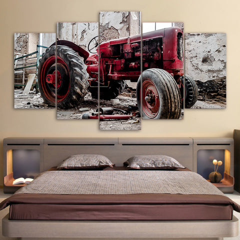 Old Broken Tractor Car - 5 Piece Canvas Wall Art
