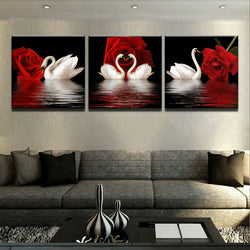 White Swans Red Roses - 3 Piece Canvas Wall Art