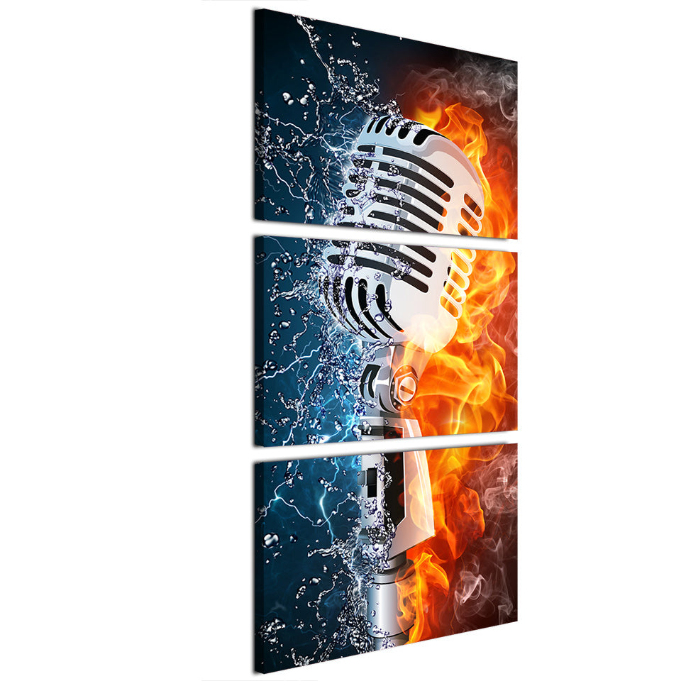 Microphone Fire Water 3 Piece Canvas Wall Art Itdayshop