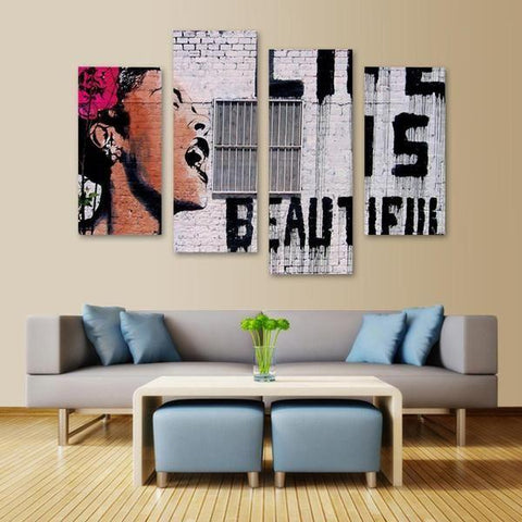 Life Is Beautiful By Banksy 4 Piece Canvas Wall Art Itdayshop