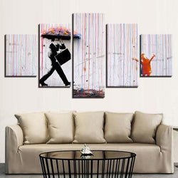 Colorful Rain by Banksy - 5 Piece Canvas Wall Art