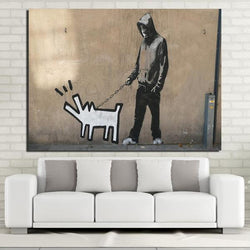 Keith Haring Dog by Banksy - 1 Piece Canvas Wall Art