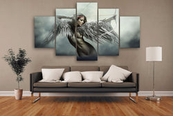 Fantasy Beautiful Wing Angels Warrior Beauty - 5 Piece Canvas Wall Art