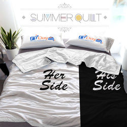Black and White His Side & Her Side Couple Custom Printed Summer Quilt Blanket