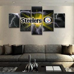 Pittsburgh Steelers Football Sports Club - 5 Piece Canvas Wall Art
