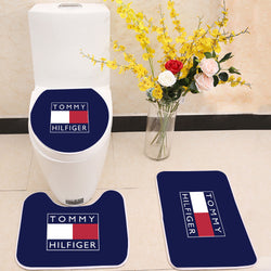 Tommy Hilfiger Logo Toilet Rug Lid Cover 3 Piece Bath Mat Set