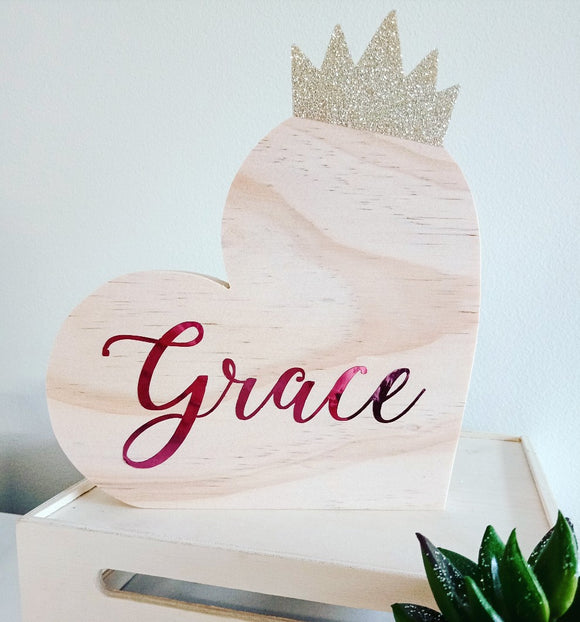 Personalised Girls Crown Heart Shelfie