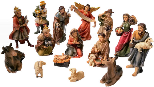 15-Piece Nativity Set. Hand-painted Nativity Scene by Faithful Treasure (4
