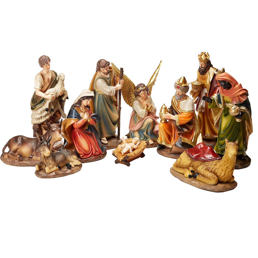12 inch Tall 11-Piece Set of Large Christmas Nativity Scene Figurines