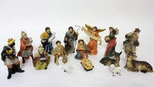 Set of many nativity scene figurines. 15 hand-painted figures