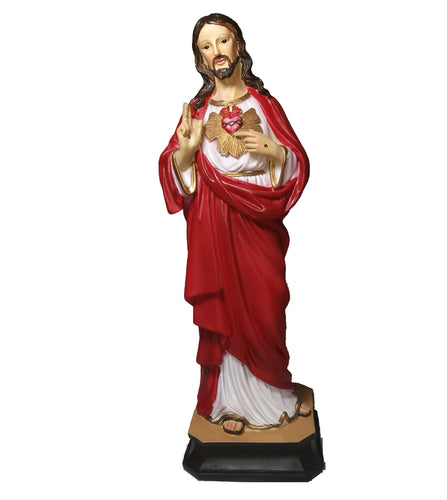 Sacred Heart Of Jesus Figurine. 12 inches tall, Hand-painted poly resin