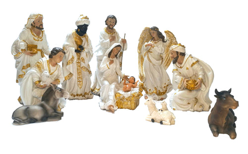 White and Gold 18 Inch Tall Set of 11 Large Nativity Scene Figurines