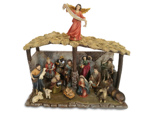Faithful Treasure Tabletop Complete Christmas Nativity Scene with Stable and 15 Nativity Figurines