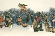 Set of 15 tabletop Christmas Nativity Scene figurines.  Hand-painted Polyresin