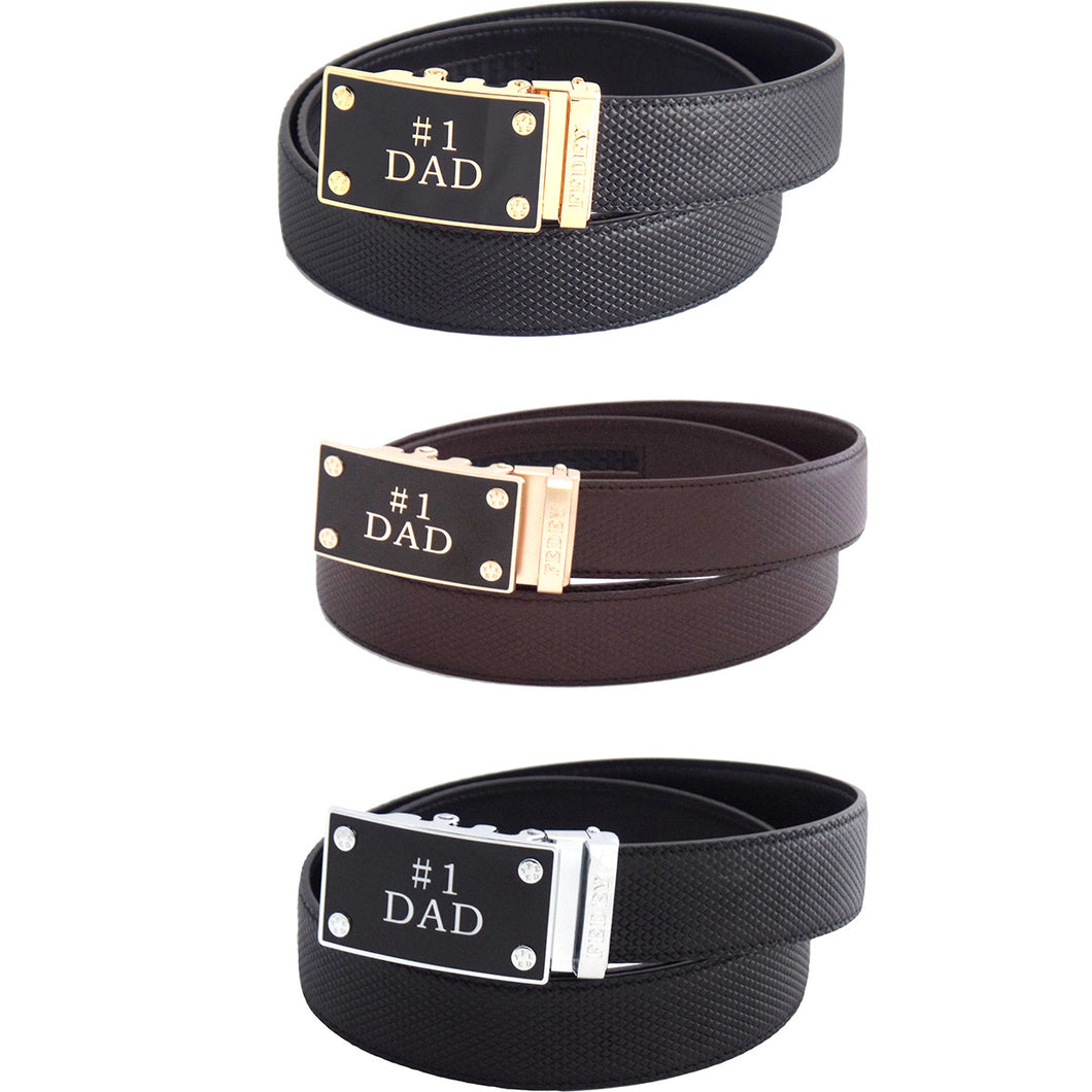 FEDEY Mens Classic Ratchet Leather Belt w No1 DAD Statement Buckle