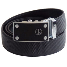 FEDEY Mens Classic Ratchet Leather Belt w PEACE Statement Buckle