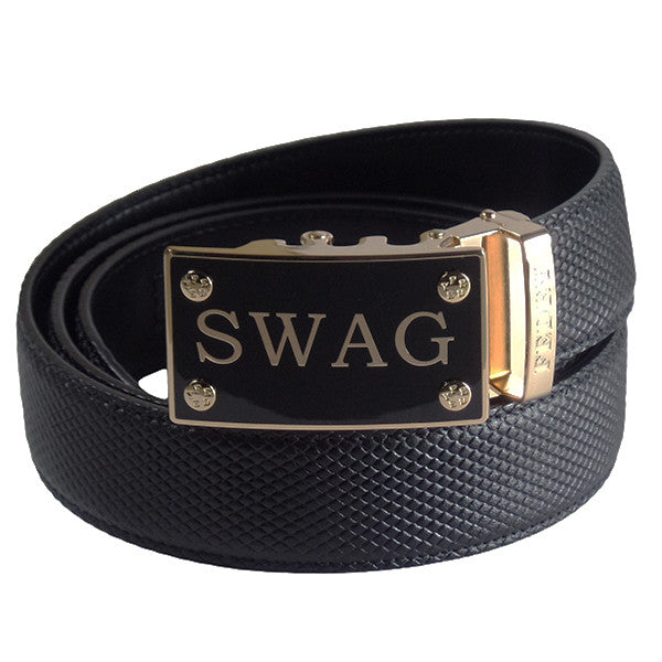 FEDEY Mens Classic Ratchet Leather SWAG Statement Belt w Automatic Buckle