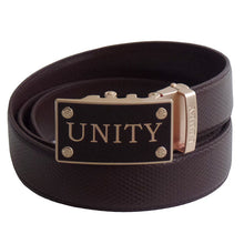 FEDEY Mens Classic Ratchet Leather UNITY Statement Belt w Automatic Buckle