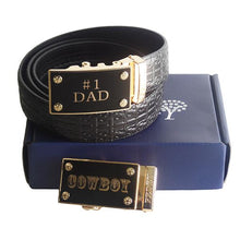 FEDEY Mens Gift Set with No. 1 Dad Ratchet Belt and Xtra Cowboy Buckle