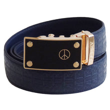 FEDEY Mens Signature Ratchet Leather PEACE Statement Belt w Automatic Buckle