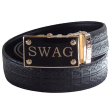FEDEY Ratchet Belts for Men, Leather Signature Series, SWAG Buckle