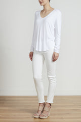 CLASSIC LONG SLEEVE V TEE - WHITE