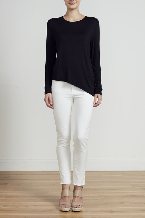 ASYMMETRICAL LONG SLEEVE TEE - BLACK