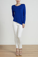 ASYMMETRICAL LONG SLEEVE TEE - ROYAL