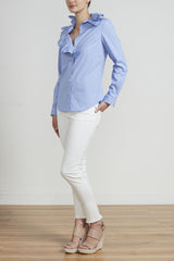 ROYAL RUFFLE SHIRT - BLUE