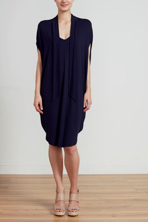 CAPE TIE DRESS - NAVY