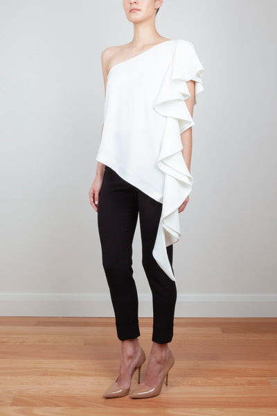 ASYMMETRICAL ROYAL RUFFLE TOP
