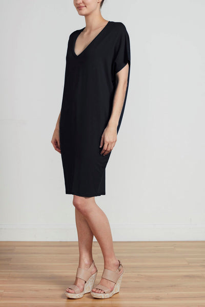RELAXED FIT V NECK DRESS - BLACK