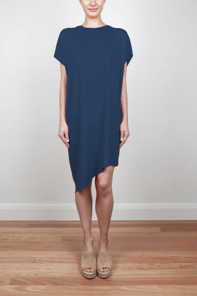 RELAXED FIT ASYMMETRICAL DRESS - NAVY