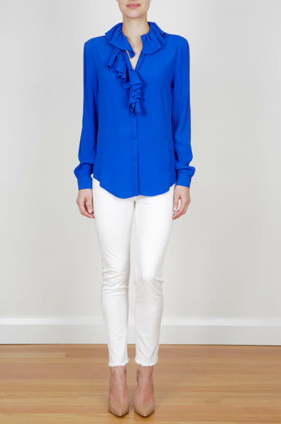 ROYAL RUFFLE SHIRT - ROYAL BLUE