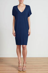 RELAXED FIT V NECK DRESS - NAVY