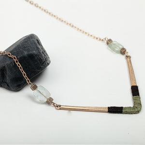 Green and Gold V Necklace