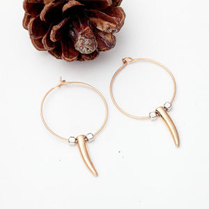 Golden Horn Hoop Earring