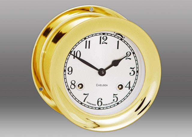 "Chelsea 4.5"" Shipstrike Key Wind Clock with Hinge Bezel"