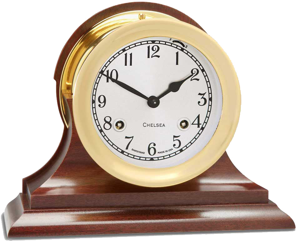 "Chelsea 4.5"" Shipstrike Key Wind Clock with Hinge Bezel with Wood Traditional Base"