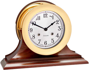 "Chelsea 6"" Shipstrike Key Wind Clock with Hinge Bezel with traditional wood mantel base."