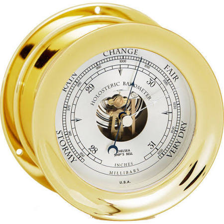 Chelsea Double Bellows Brass Barometer 4.5""