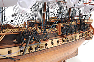 "Assembled  U.S.S. Constitution  Wood Model  Ship (38"" long)"