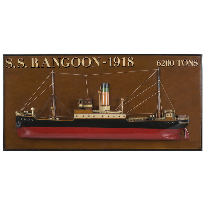 Half Hull Wood Model SS Rangoon 1918 Tramp Steamer by Authentic Models