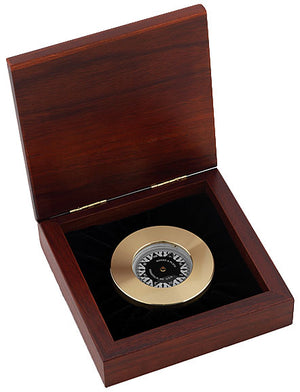 Weems and Plath Nautical Brass Chart Weight Compass with Mahogany Wood Box