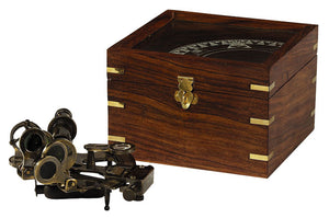 Bronze Naval Sextant with Wood Box by Authentic Models