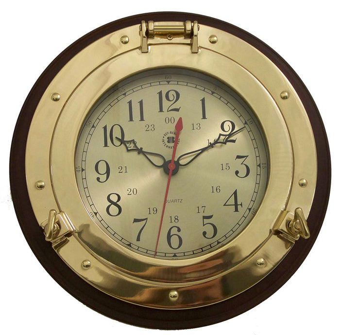 "Brass Porthole Clock on Solid Wood - 13""."