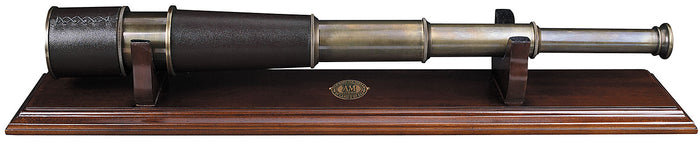 Bronze Spyglass / Telescope with Wood Stand by Authentic Models